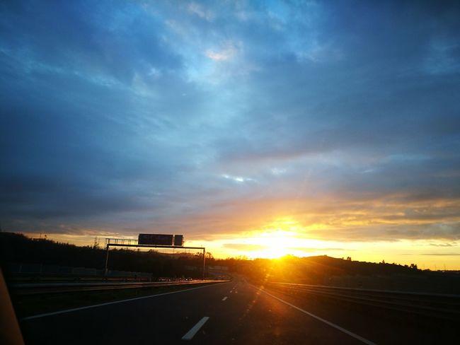 Sunset Cloud - Sky Highway Dramatic Sky Transportation No People Sky