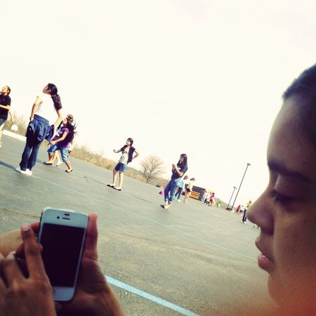 Yesterday Playing Volleyball With Cecy, Emily , Ana , Yatciri , Jessica , Jenni , Gisselle Cant Play Ankle Hurts Alot
