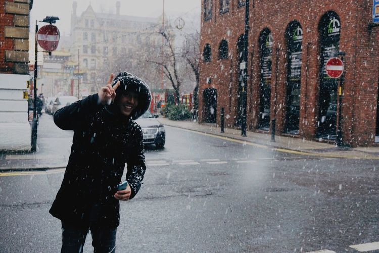 My dad Daddy❤ Manchester Snow ❄ Smile ✌