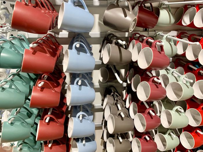 Cups Cup Red Full Frame Large Group Of Objects Abundance Backgrounds No People Hanging Arrangement Variation For Sale Retail  Multi Colored