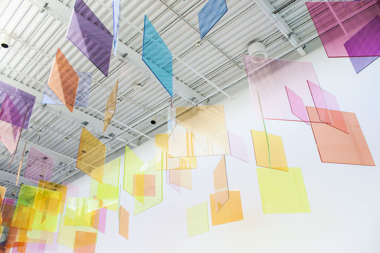 Multi Colored Indoors  Large Group Of Objects No People Hanging Creativity Art And Craft Abundance Low Angle View Glass - Material