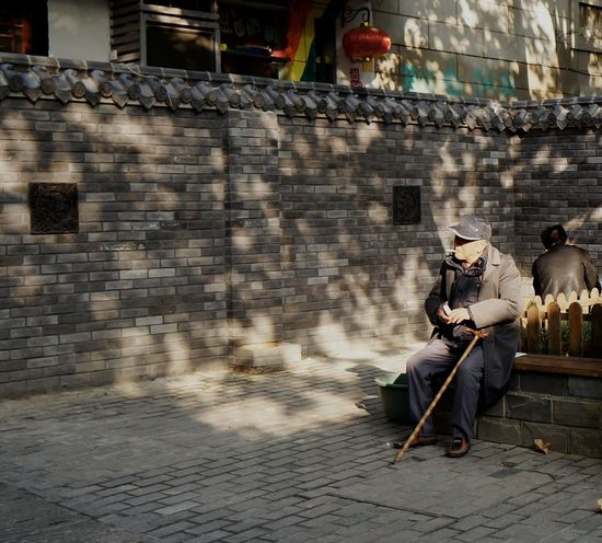 Autumn Day Beauty In Nature Bench Day Old Man One Man Only One Person Outdoors People Seating Shadows Tree Shade Urban Space Walking Stick