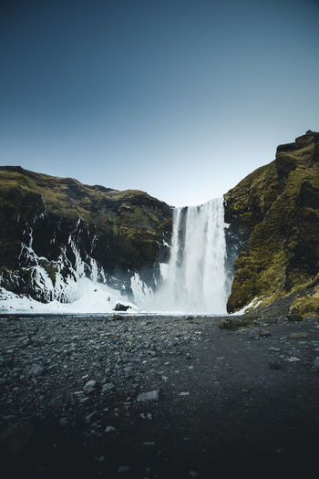 Water Scenics - Nature Waterfall Beauty In Nature Long Exposure Nature Flowing Water Environment No People Outdoors Skogafoss Iceland Seljalandsfoss Sky Clear Sky Land Power In Nature Flowing