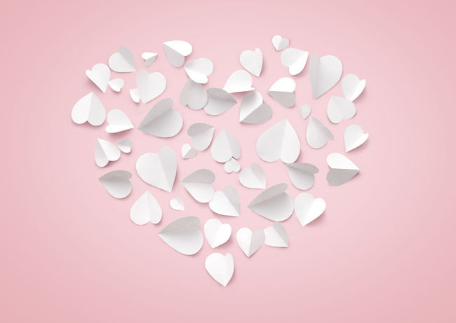 Heart shape made from little paper hearts. Love and Valentine's day concept Celebration Colored Background Heart Heart Shape Large Group Of Objects Love Love Pink Background Pink Color Romance Shape Studio Shot Valentine Valentine's Day  Valentine's Day - Holiday