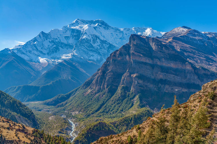 Annapurna Annapurna Conservation Area Clear Sky High Resolution Himalayas Nature Nepal Travel Trees Trekking Annapurnacircuit Day Landscape Mountain Mountain Range No People Outdoors Peak River Snow Snowcapped Mountain Valley