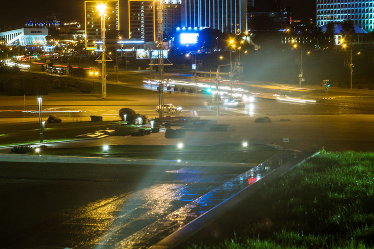 Belarus Minsk Architecture Building Exterior Built Structure Car City City Life City Street Cityscape High Angle View Illuminated Light Trail Long Exposure Mode Of Transportation Motion Motor Vehicle Nature Night No People Outdoors Road Street Transportation