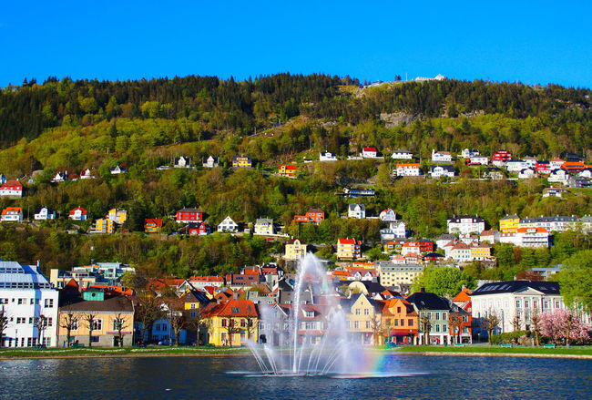 Bergen Bergen,Norway Clear Sky Colorful Europe Trip Fairytale Town Fountain Lake Norway Rainbow Residential District Tourism On The Way
