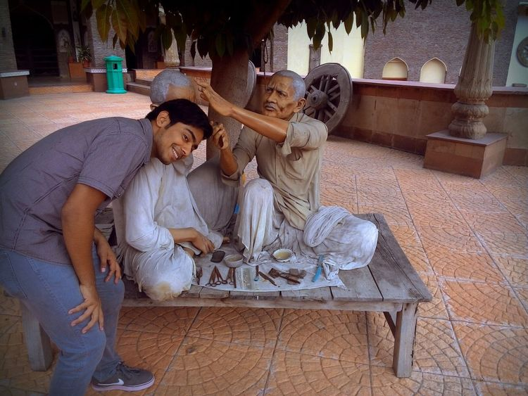 """Give me blessings!"" Thats what im saying to the sculptured man at museum of State History at Kurukshetra University. Haircut Haircut Time Check This Out Taking Photos People Photography Having Fun People Working Portrait People Blessing"