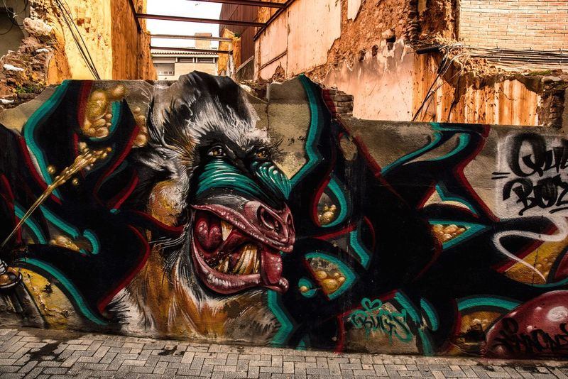 Graffiti in sabadell Art And Craft Architecture Multi Colored Paint Built Structure Outdoors Dragon No People Day Close-up Rafiki  Monkey Graffiti Sabadell Catalunya EyeEmNewHere Nikon Nikonphotography Art Street Art Baboon