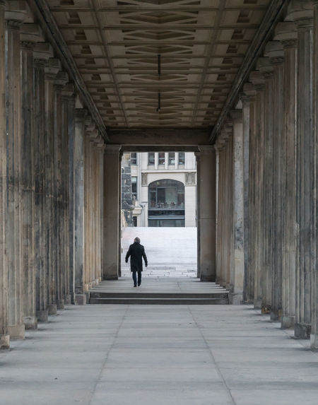 Arcades Architecture Arkaden Berlin Photography Berliner Ansichten Built Structure Colonnade Day Full Length Indoors  One Person People Pillars Real People Rear View Säulen The Way Forward Transportation Urban Exploration