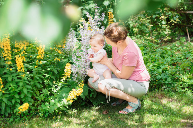 Mother showing the garden plants her baby girl Baby Baby Care Childhood Chilling Cute Family Females Flower Flowers Garden Green Greenery Happiness Little Moother Natural Nature Nature Outdoors People Spring Sunset Togetherness Woman
