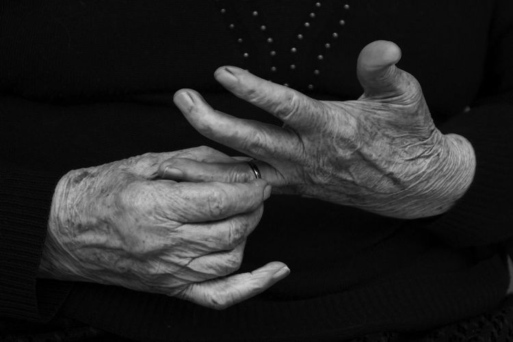 Italy Blackandwhite Close-up Comfortable Contemplation Detail Details First Eyeem Photo FirstEyeEmPic Front View Grandmother Human Body Part Human Finger Human Hand Innocence Part Of Photography Real People Relaxation Ring Serious Showcase: February Studio Shot Wedding Ring Woman