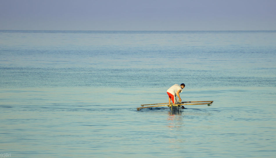 Fisher man Boat Sony A6000 Camiguinisland Itsmorefuninthephilippines Blue Adult One Man Only Sky
