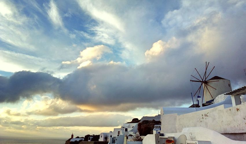 || Nature Theories || Santorini, Greece. TheFoneFanatic Nokia  Nokia808 Vacations Mobilephotography PhonePhotography Scenics Landscape Nature Windmill Mountain Sea Traditional Windmill Sunset Dramatic Sky Whitewashed Cloudscape Cumulus Cloud