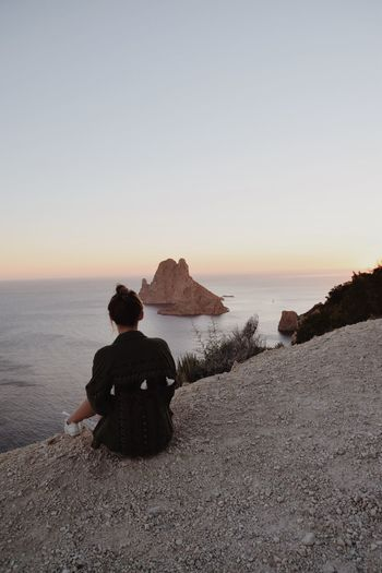 Looking at the famous Es Vedra, Ibiza Nature Rear View Horizon Over Water One Person Rock - Object Es Vedrá Ibiza SPAIN Roadtrip Bohemian Sunset Lost In The Landscape