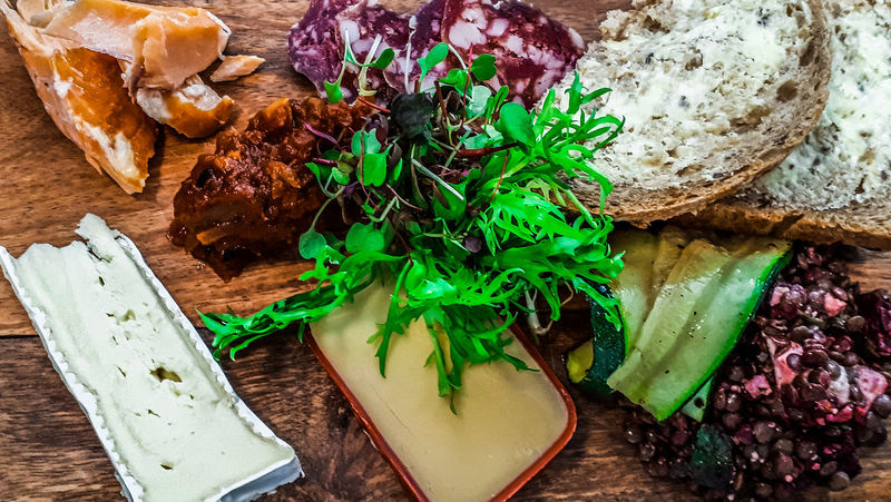 Lunch in the old town. Cheese Lunch Cured Meat Lentils Chutney Wood High Angle View Green Color Table Herb Indoors  Directly Above No People