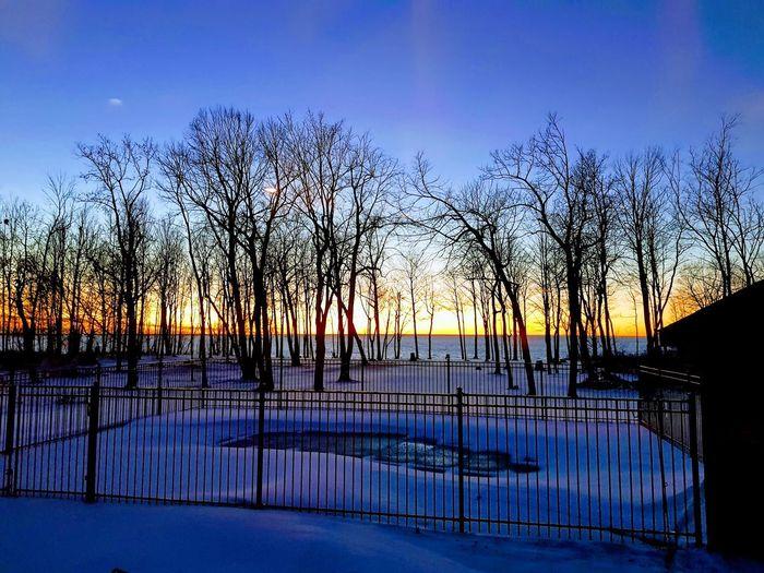Sunset over Lake Huron. Lake Huron Canada Ontario Winter Water Reflection Sunset Nature Sky Lake Silhouette