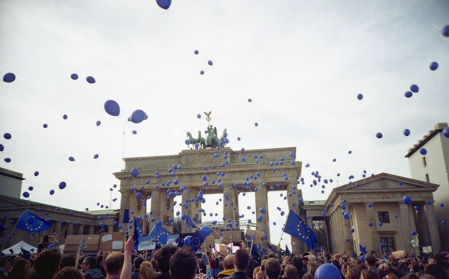 "Demonstration ""March for Europe"" near Brandenburg Tor Architecture Berlin Brandenburg Gate Built Structure City City Life Crowd Day Large Group Of People Outdoors"