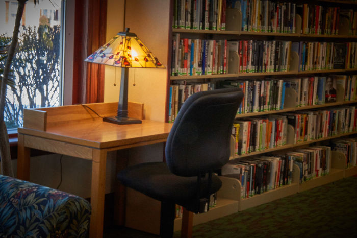 Alone Books Desk EyEmNewHere Library Low Light Quiet Bookshelf Education Illuminated Indoors  Library Modern Day Public Tiffany Lamp Window View Work Space
