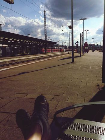 Waiting Train Station Tranquility Alone Travel Travel Photography Train Tracks Sky Sky And Clouds Cloud - Sky Sun