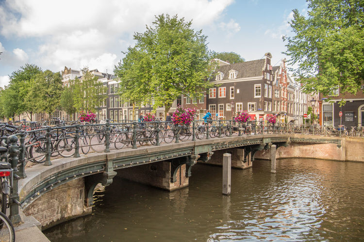 Amsterdam Netherlands Architecture Bridge Bridge - Man Made Structure Building Building Exterior Built Structure Canal Canal Houses Cloud - Sky Connection Day Dutch Architecture Dutch Houses Footbridge Group Of People Herengracht Holland Nature Outdoors Plant Sky Tourism Transportation Tree Water Waterfront
