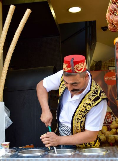 Traditional Clothing Adult Business Clothing Food And Drink Front View Holding Ice Cream Cone Icecream Man  Indoors  Leisure Activity Males  Men Mid Adult Mid Adult Men Occupation One Person Portrait Real People Sitting Standing Turkish Ice Cream Uniform Waist Up Visual Creativity Adventures In The City Focus On The Story Small Business Heroes The Traveler - 2018 EyeEm Awards