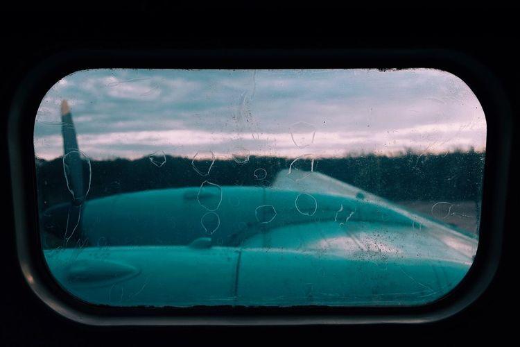 View of sky seen through glass window