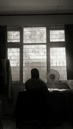 Work Window Sitting Indoors  Rear View People Workdays Working Hard One Person
