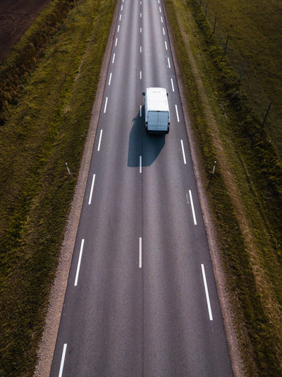 High angle view of highway on road