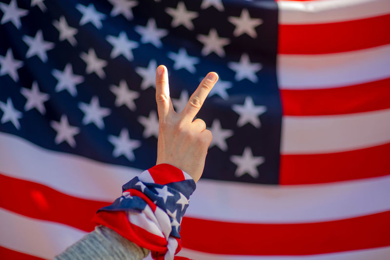 USA flag Flag Patriotism Red Star Shape Shape Striped Pride Politics Freedom Election Democracy Independence Government People Indoors  Voting White Color National Icon Finger