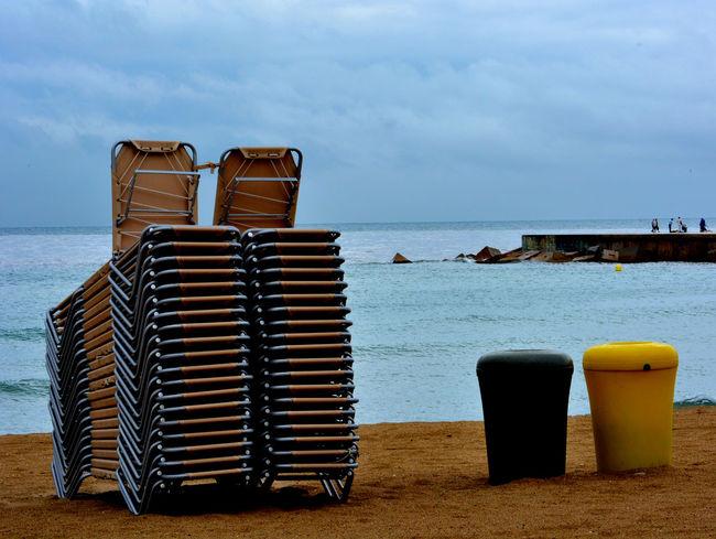 End of day Beach Bin Chairs Nikon D5200 Sea Seascape Seaside SPAIN