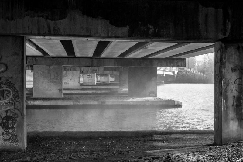 Bridge Built Structure Canal Concrete Day Empty Graffiti Railing Water Blackandwhite Urban Landscape Blackandwhite Photography