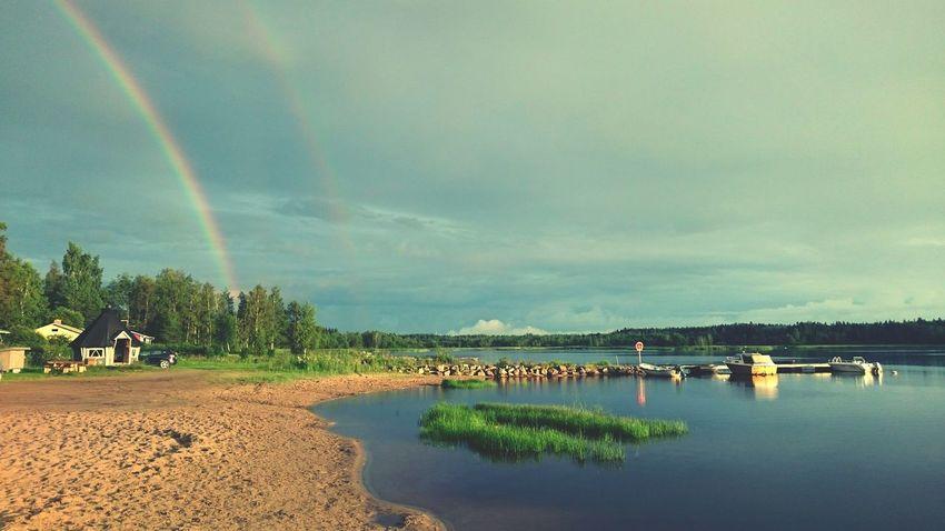 Double Rainbow Finland Summer Sony Xperia Z3 Rain Landscape