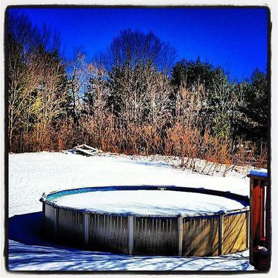 Pool is ready! Milton_vt Miltonvt Pool Vt_scene Swimming Plunge Landscape Scenery Backyard Winter Snow Cold Penguin Vermont Bluesky Brrrr Vt Vt_scenery