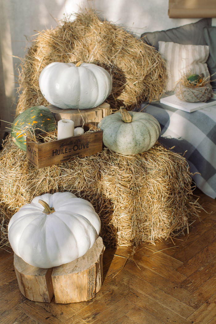 High angle view of pumpkins and hay at home