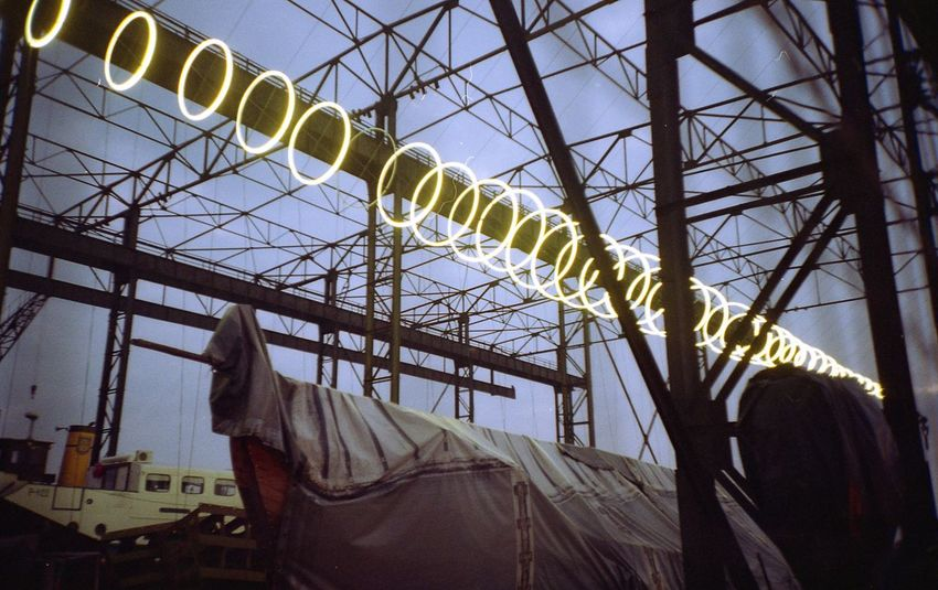 "The project of ""Lightforms"" for Klaipeda Lights Festival 2016 called ""Elingas"". I made a sound for it. Built Structure Festival Indoors  Lights Lomo Lomography No People Old Structure Ship Building Sky"