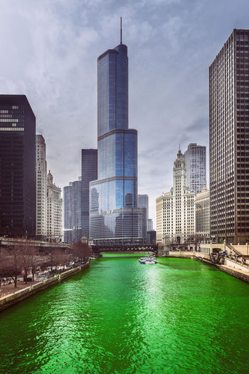 Green Architecture Building Exterior Chicago Cityscapes Green Highrises Illinois Modern No Person Outdoors River Skycrapers St Patrick's Day Trump Trump Tower Urban USA