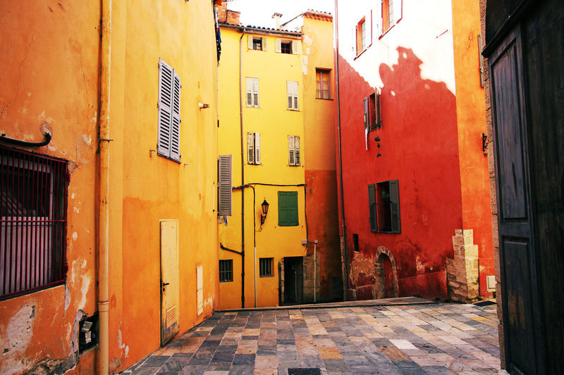 Alley Architecture Building Building Exterior Built Structure Colorful Colors Door House Narrow Perspective Street Wall Warm Window