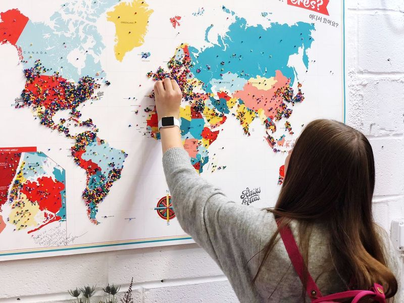 New York Travel World Rear View One Person Real People Wall - Building Feature Multi Colored Creativity It's About The Journey Lifestyles Indoors  Art And Craft Day Wall Activity Hand