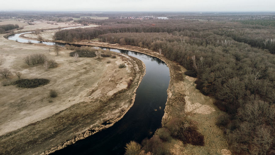 High angle view of river passing through landscape