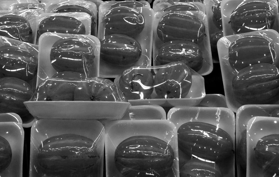 Melons Shrinkwrap Food Fruit Monochrome Black And White