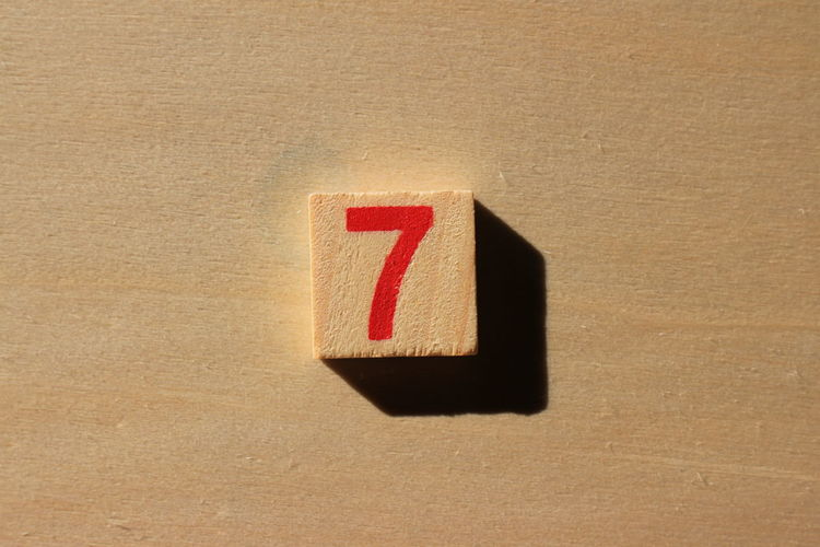 Close-up of number 7 on wood