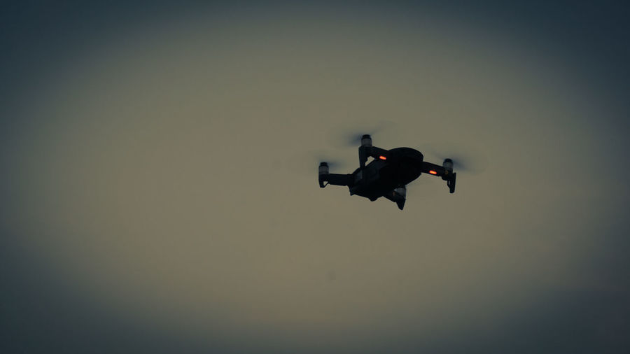 Air Vehicle Airplane Control Copy Space Dronephotography Flying Mid-air Motion on the move Silhouette Sky Sunset Transportation