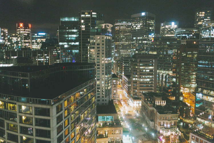 The city of Vancouver at night. Building Exterior City Architecture Illuminated Night Cityscape Modern City Life High Angle View Skyscraper No People