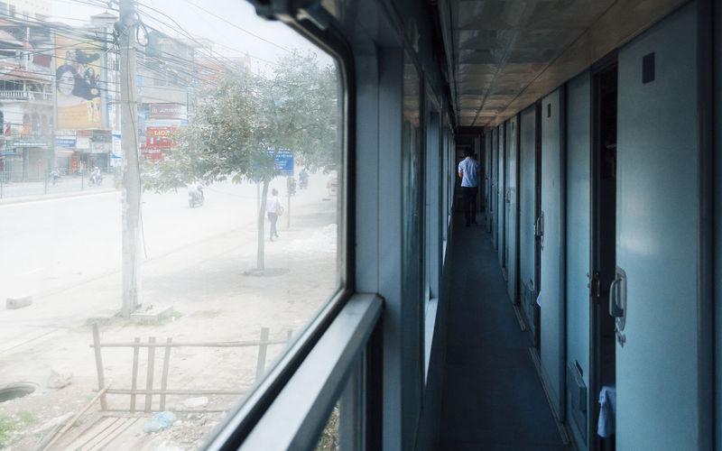 Man in bus in city