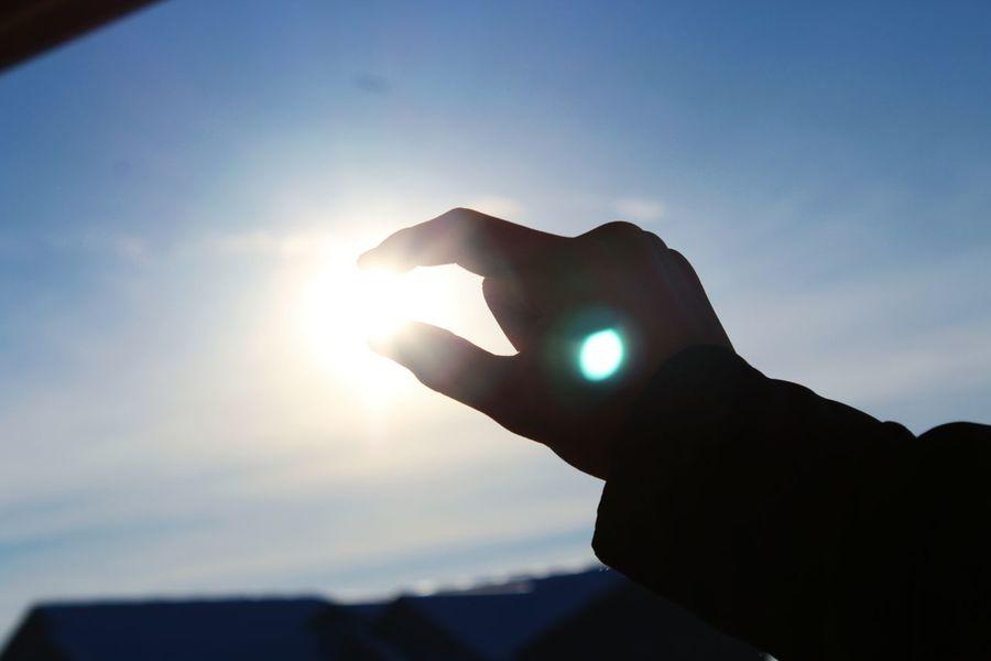 Human Hand Sky Sunlight Sunbeam Sun Silhouette Close-up Nature Outdoors Beauty In Nature Back Lit