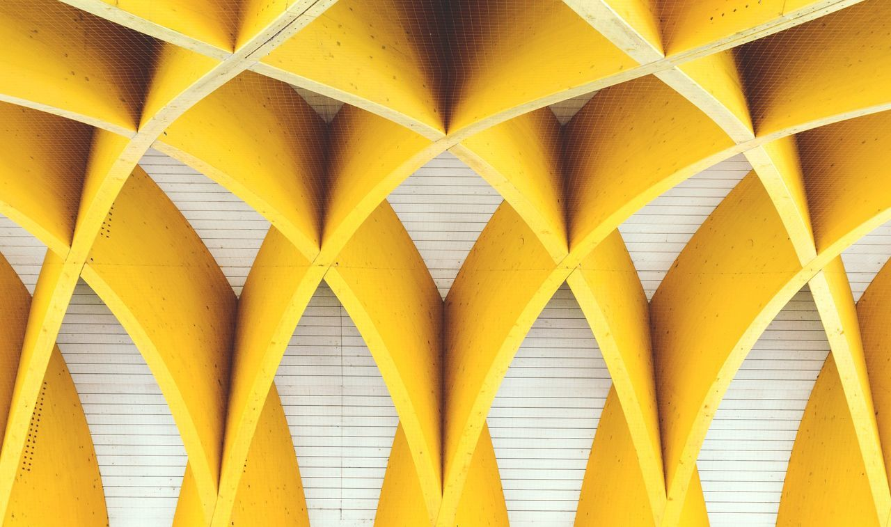 yellow, full frame, backgrounds, architecture, pattern, indoors, no people, built structure, day, underneath, close-up