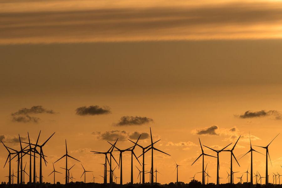 wind turbines at sunset Germany Elbe River Serrated Wind Turbine Windmill Wind Power Technology Power Station Electricity Pylon Tree Sunset Mountain