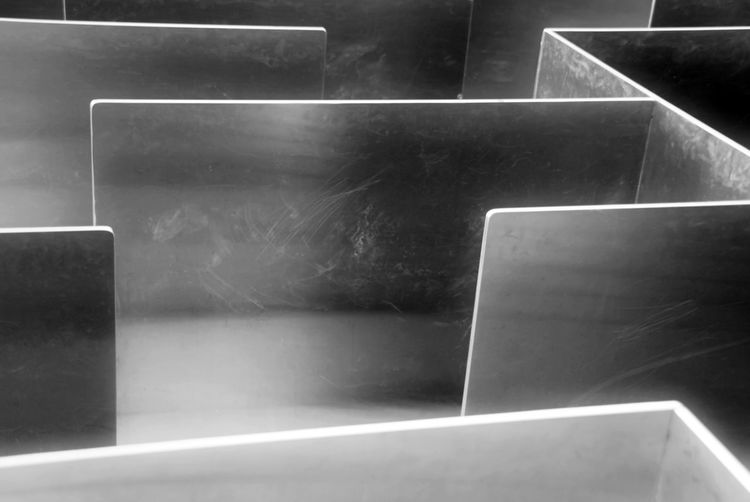 Labyrinth made of metal Metal Stainless Abstract Art High Angle View Indoors  Labyrinth Lifestyles Wall