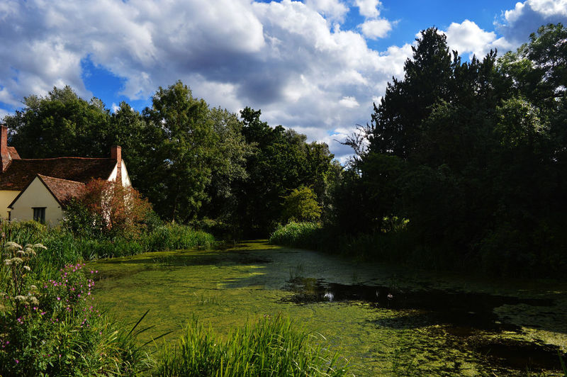 Pond Beauty In Nature Cloud - Sky Cottage Haywain House Nature No People Tranquility Tree Water